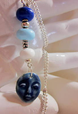 Lampwork Photograph - Blue Buddha Necklace by Janet  Telander