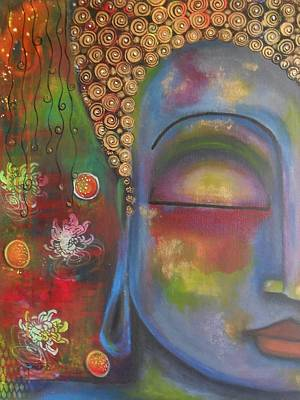 Buddha In Blue Meditating  Art Print