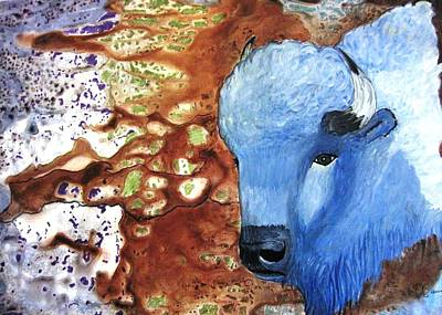 Representative Abstract Mixed Media - Blue Buffalo by David Raderstorf