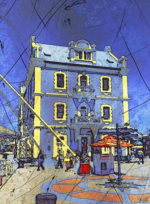 Blue Building Art Print by Jan Hattingh