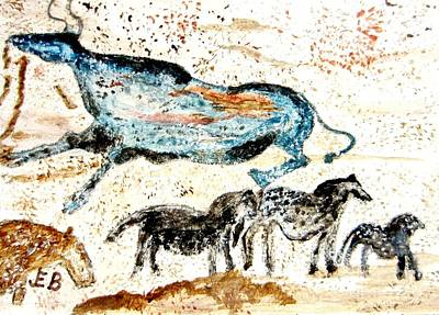 Steer Painting - Blue Bull - Cave Drawing 9 by John Burch