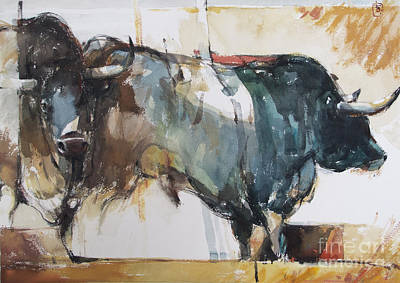 Wall Art - Painting - Blue Bulls by Tony Belobrajdic