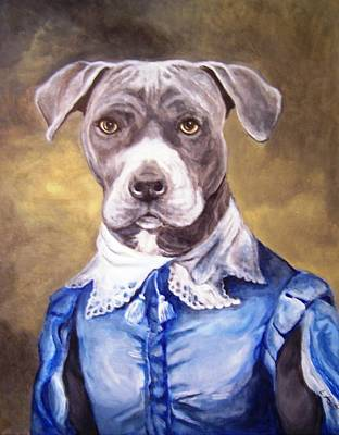 Art Print featuring the painting Blue Bully Boy by Laura Aceto