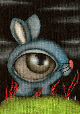 Blue Bunny Art Print by  Abril Andrade Griffith