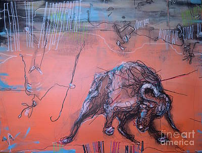 Hunters And Gatherers Painting - Blue Burnt Lace Mellowed by Mark Blome