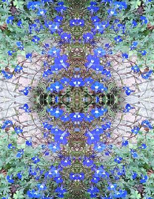 Photograph - Blue Bush Flower Fractal Heart 2 by Julia Woodman