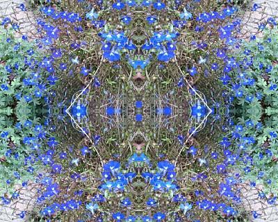 Photograph - Blue Bush Flower Fractal Heart 4 by Julia Woodman
