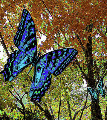 Mixed Media - Blue Butterflies In Autumn by Michele Avanti