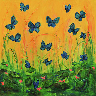 Blue Butterflies In Early Morning Garden Art Print