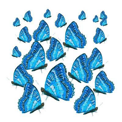 Iridescent Painting - Blue Butterflies by Jan Matson