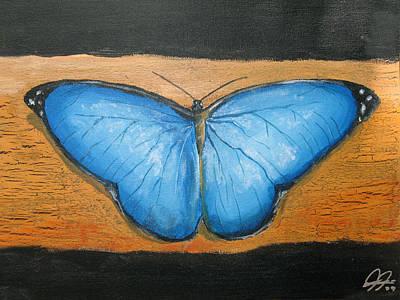 Blue Butterfly Art Print by Christian  Hidalgo