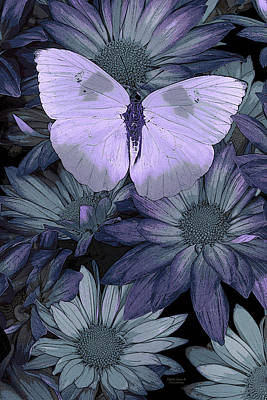 Butterfly Flowers Painting - Blue Butterfly by JQ Licensing