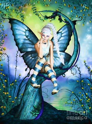 Blue Butterfly Fairy In A Tree Art Print