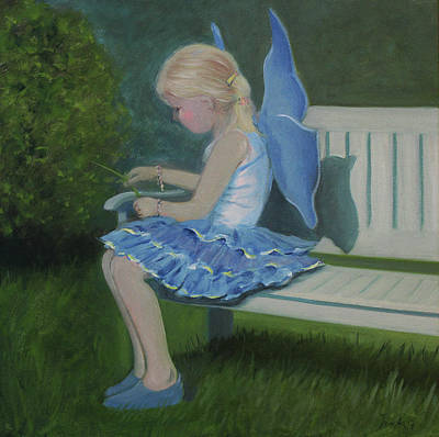 Painting - Blue Butterfly Girl by Tone Aanderaa