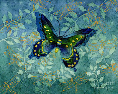 Note Card Painting - Blue Butterfly by Hailey E Herrera