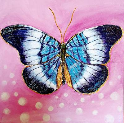 Painting - Blue Butterfly by Hye Ja Billie