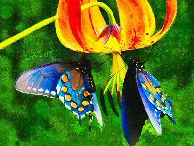 Olive Green Painting - Blue Butterfly In Nature by Leonardo Digenio