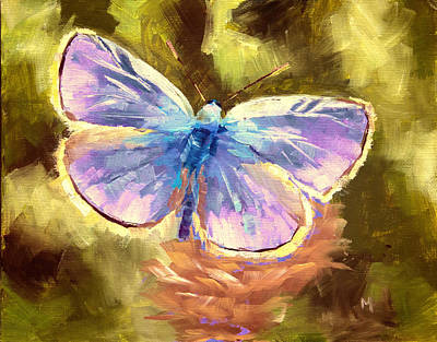 Jewel Tone Painting - Blue Butterfly by Melissa Herrin