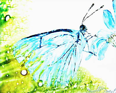 Painting - Blue Butterfly On Daisy Alcohol Inks by Danielle  Parent