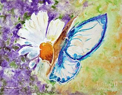 Painting - Blue Butterfly On Daisy Over Purple Watercolor by CheyAnne Sexton