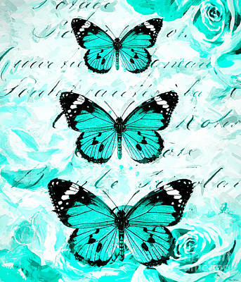 Digital Art - Blue Butterfly Print by Tina LeCour