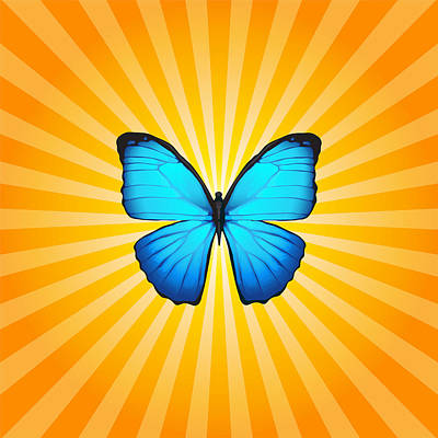 Digital Art - Blue Butterfly Sun by Ginny Gaura