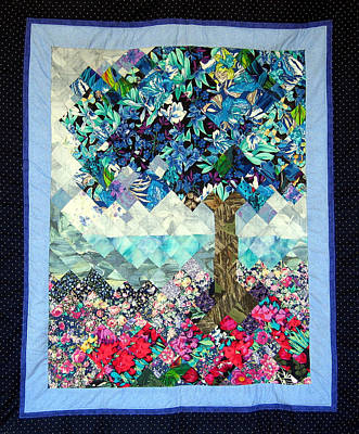 Tapestry - Textile - Blue Butterfly Tree by Sarah Hornsby