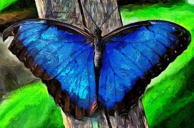 Fly Digital Art - Blue Butterfly  - Van Gogh Style -  - Da by Leonardo Digenio