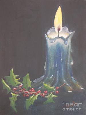 Hot Wax Painting - Blue Candle by Patricia Caldwell