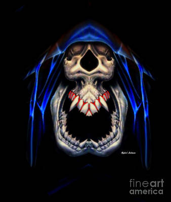 Digital Art - Blue Caped Skull by Rafael Salazar
