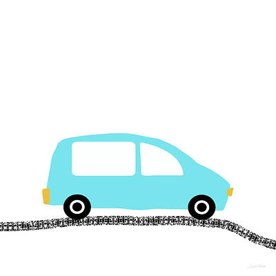 Digital Art - Blue Car On Road- Art By Linda Woods by Linda Woods