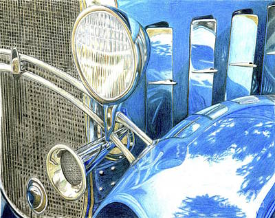 Drawing - Blue Car by Tammie Painter