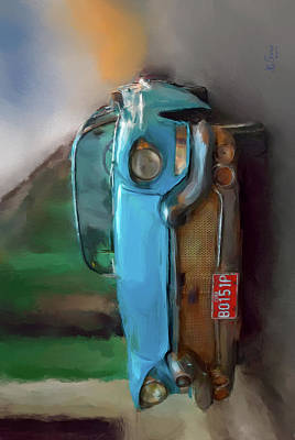 Photograph - Blue Car V by Juan Carlos Ferro Duque