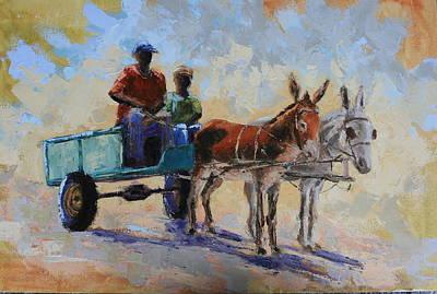 Blue Cart Art Print by Yvonne Ankerman