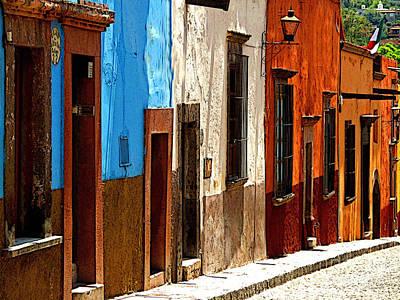 Blue Casa Row Art Print by Mexicolors Art Photography