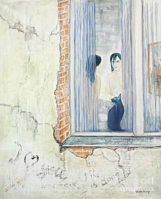 Blue Cat And Dark Lady Art Print