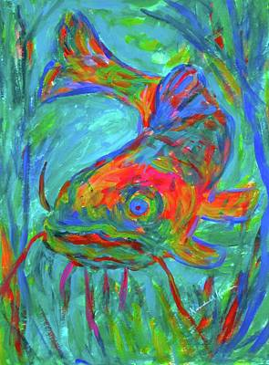 Painting - Blue Fin Cat  by Kendall Kessler
