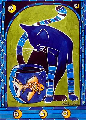 Blue Cat With Goldfish Art Print