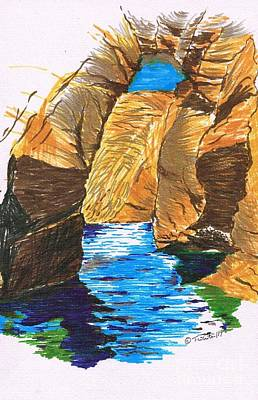 Drawing - Blue Caves by Teresa White
