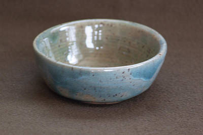 Ceramic Art - Blue Ceramic Drippy Bowl by Suzanne Gaff