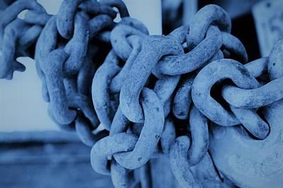 Photograph - Blue Chain Links by Cheryl Hoyle