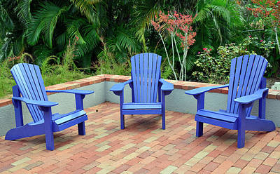 Photograph - Blue Chair Arrangement At Albin Polasek Museum Gardens by Bruce Gourley