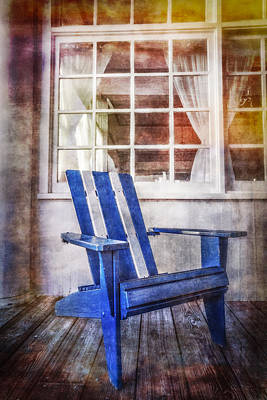 Charming Cottage Photograph - Blue Chair by Debra and Dave Vanderlaan
