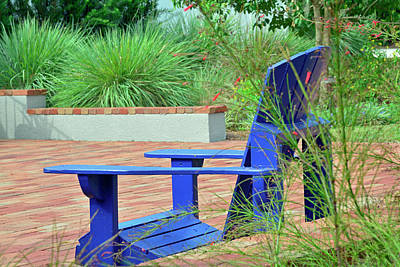 Photograph - Blue Chair In Albin Polasek Museum Gardens by Bruce Gourley
