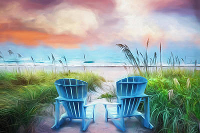 Photograph - Blue Chairs At The Sea In Soft Watercolors by Debra and Dave Vanderlaan