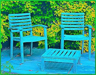 Digital Art - Blue Chairs by Mindy Newman