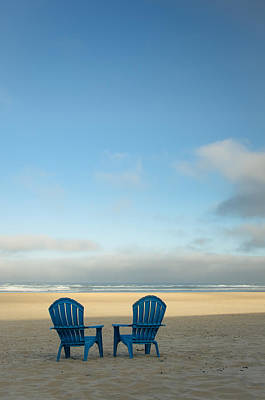 Photograph - Blue Chairs On The Beach by Don Schwartz