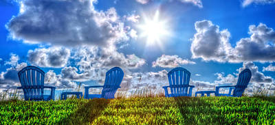 Adirondack Chairs On The Beach Photograph - Blue Chairs On The Dunes by Debra and Dave Vanderlaan
