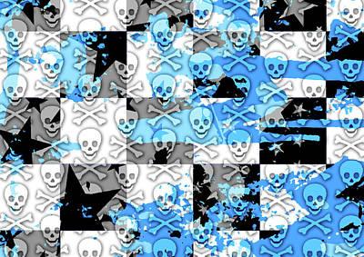Digital Art - Blue Checker Skull Splatter by Roseanne Jones