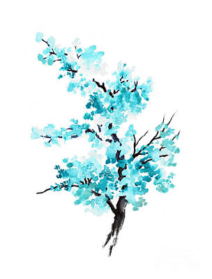 Blue Cherry Blossom Tree Watercolor Painting Art Print by Joanna Szmerdt
